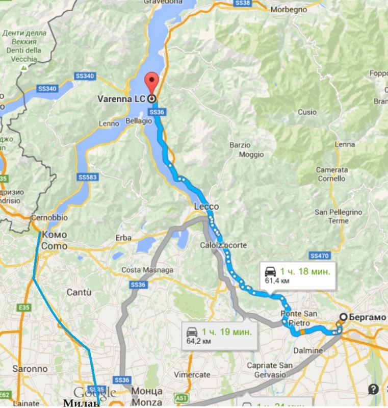 Карта озера Комо. Как добраться от Бергамо и Милана