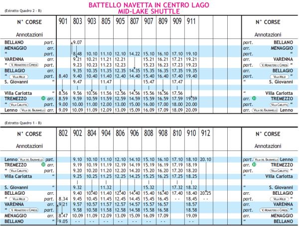 Расписание кораблей по озеру Комо