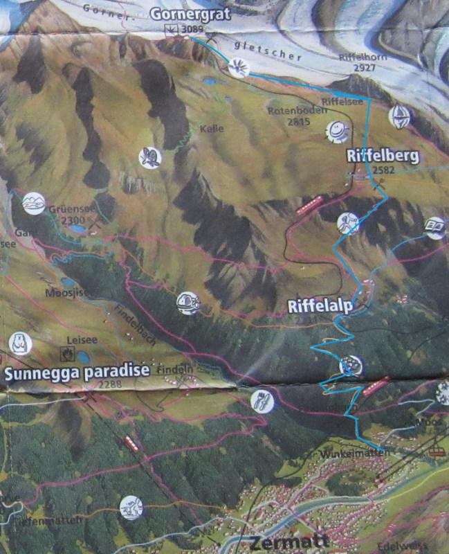 Схема маршрута Горнерграт - Риффельальп - Церматт