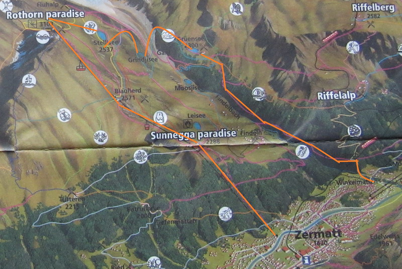 Схема маршрута Ротхорн и озера