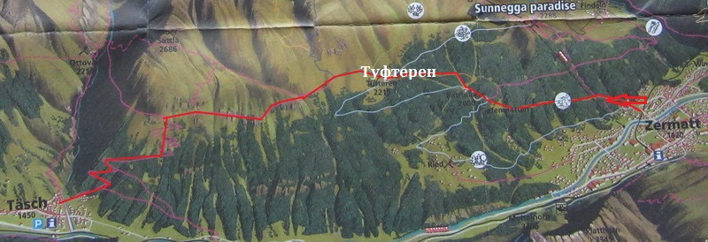 Схема маршрута Церматт-Таш