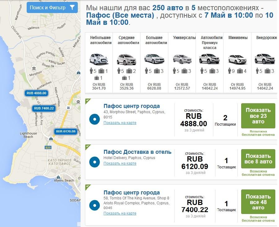 цены на аренду машины