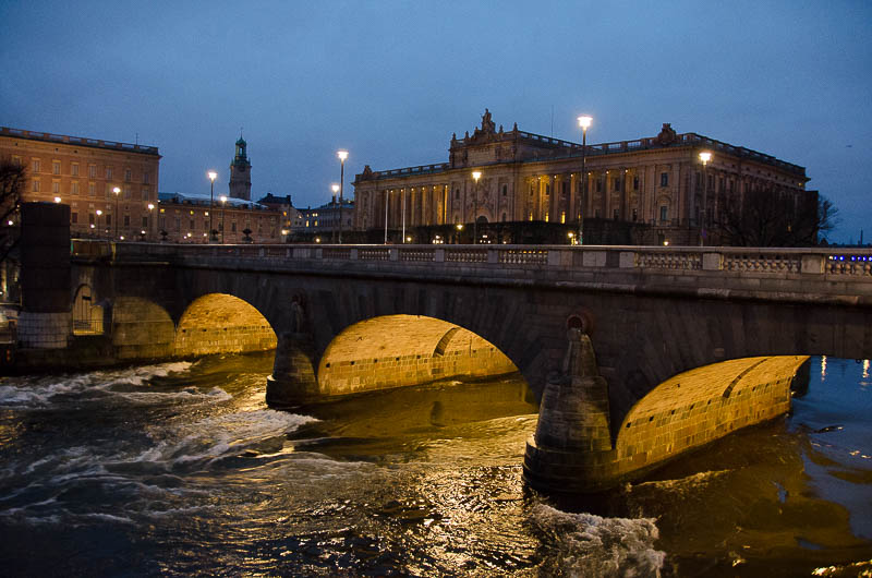 Вечерний Стокгольм. Вид на Королевский дворец