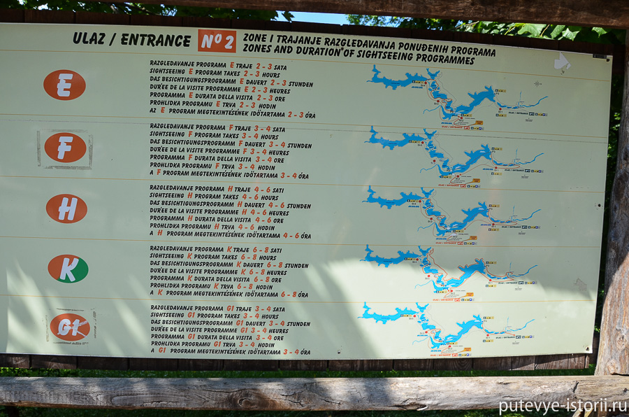 Плитвицкие озера, карта маршрутов