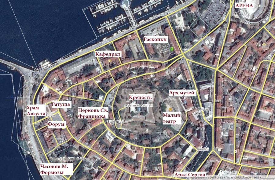 карта Пулы с достопримечательностями