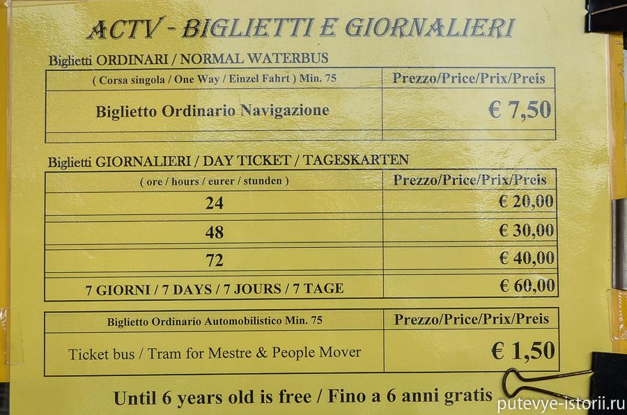 Стоимость билетов на вапаретто