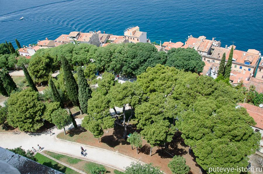 Восхитительный вид на город, его дома и улочки, на гавань, уставленную яхтами, на парк у подножия церкви.