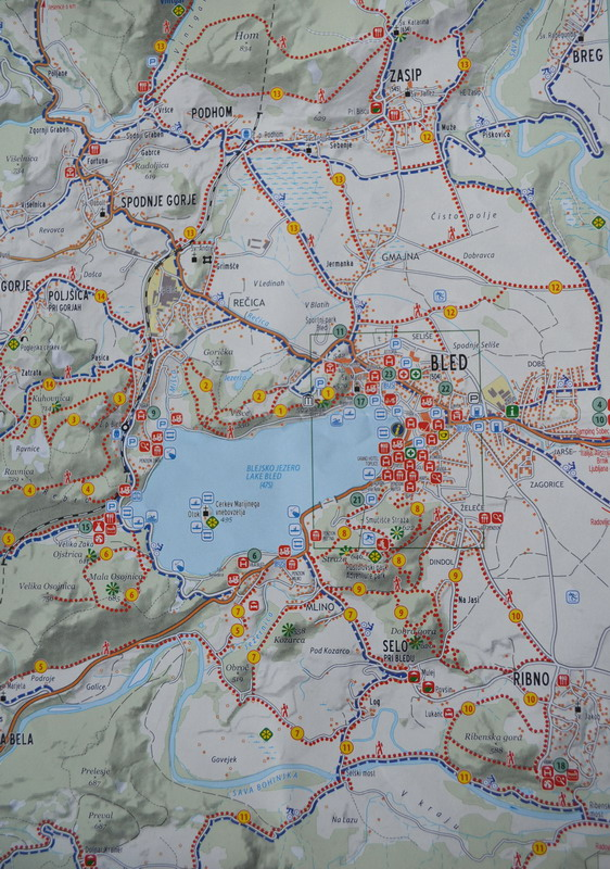 Карта маршрутов в районе озера Блед