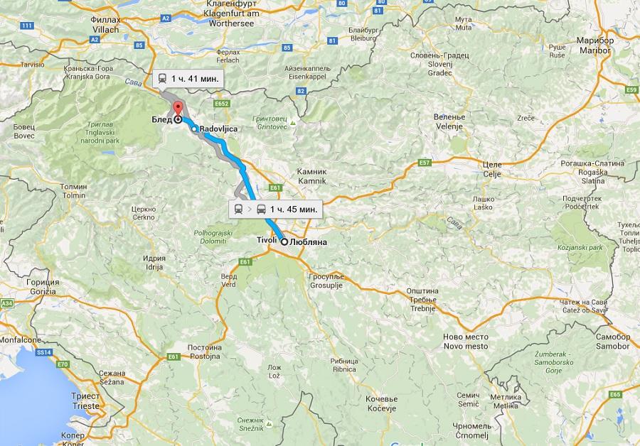 озеро Блед на карте Словении