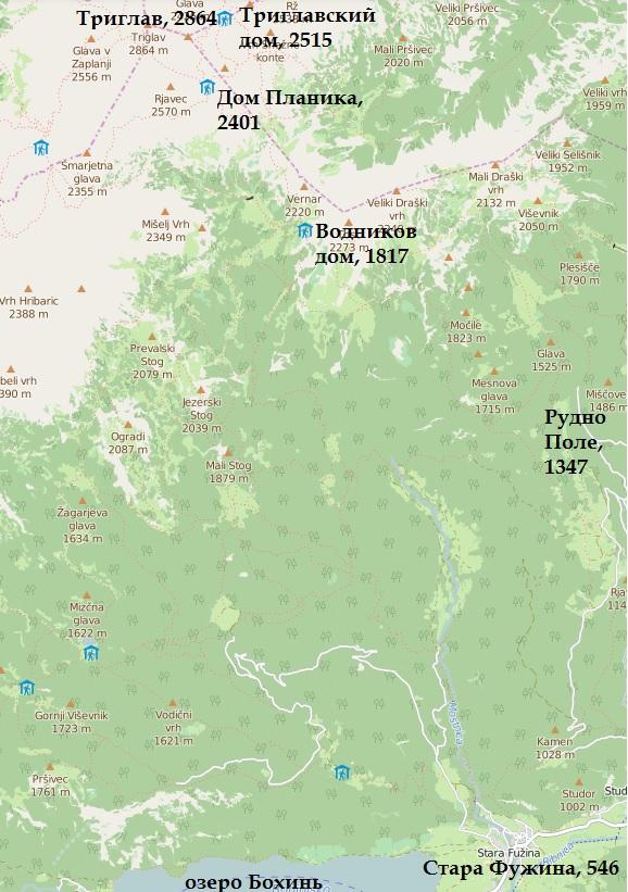 парк Триглав карта
