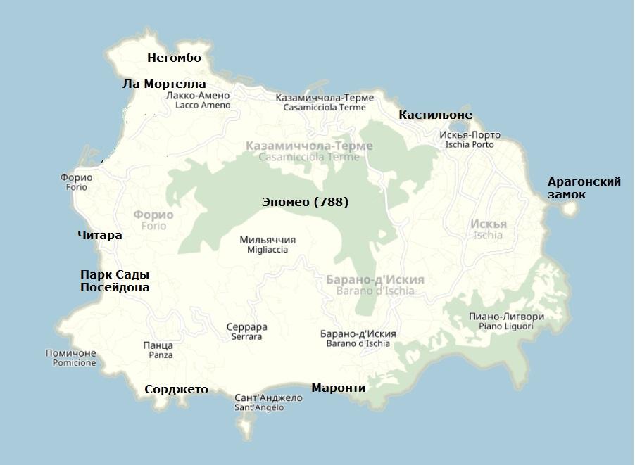 Карта Искьи с достопримечательностями