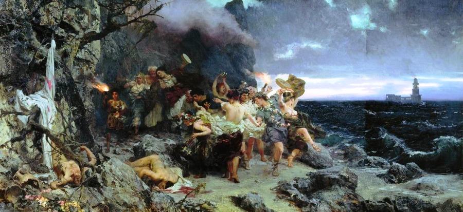 оргия времен Тиберия на острове Капри картина Семирадского
