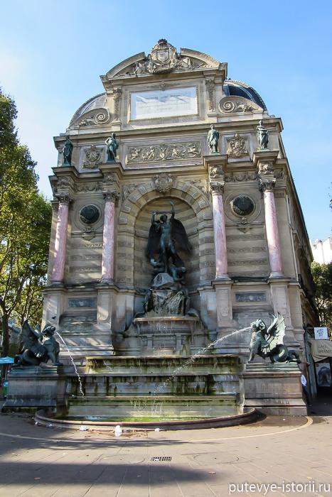 Париж фонтан Сен Мишель