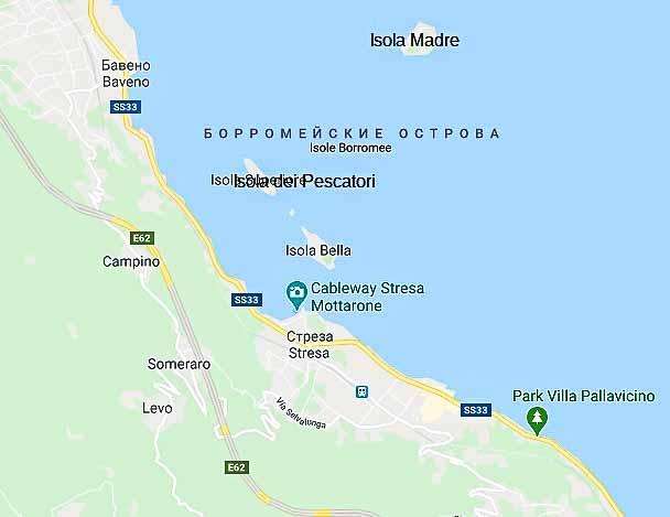 борромейские острова на карте