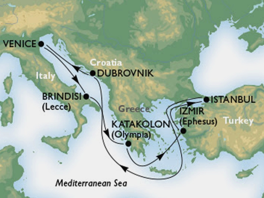 схема круиза Восточное Средиземноморье