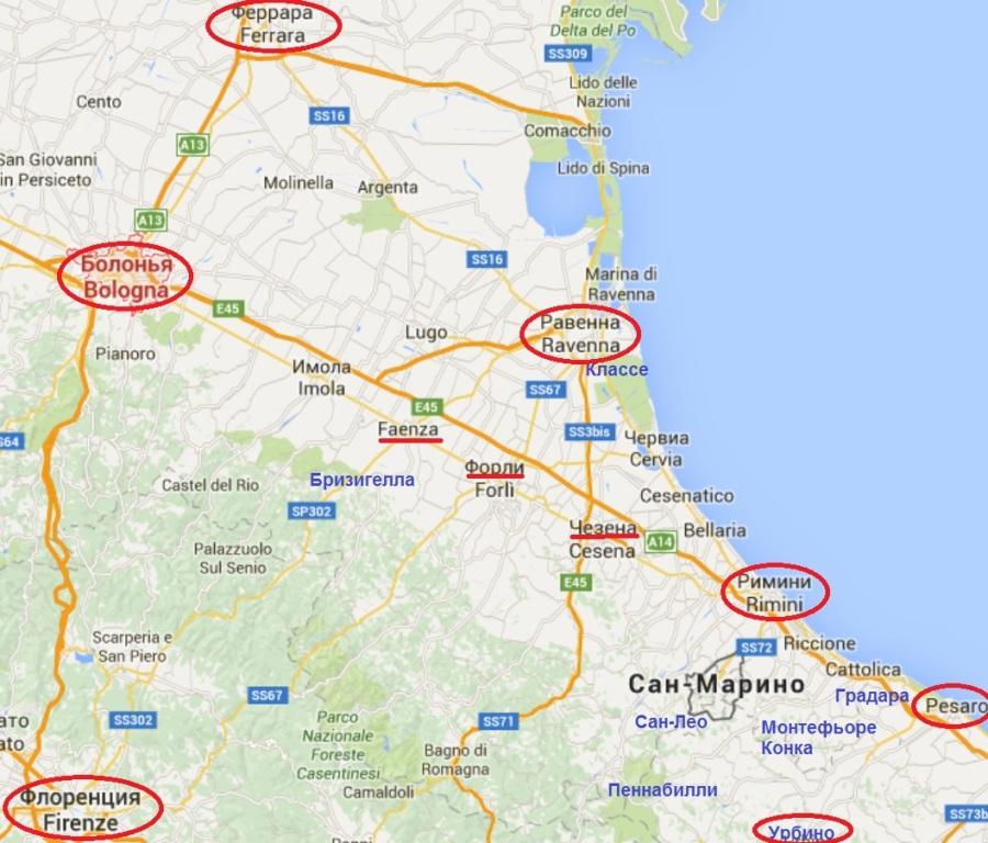 Экскурсии из Римини на карте
