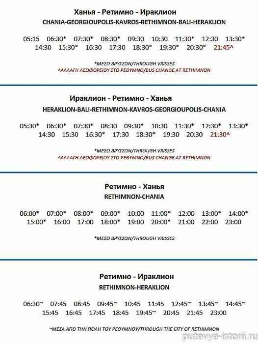 ираклион-ретимно-ханья расписание