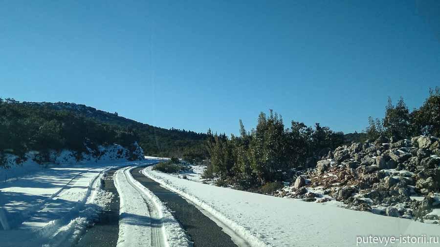 пелопоннес зимой дорога