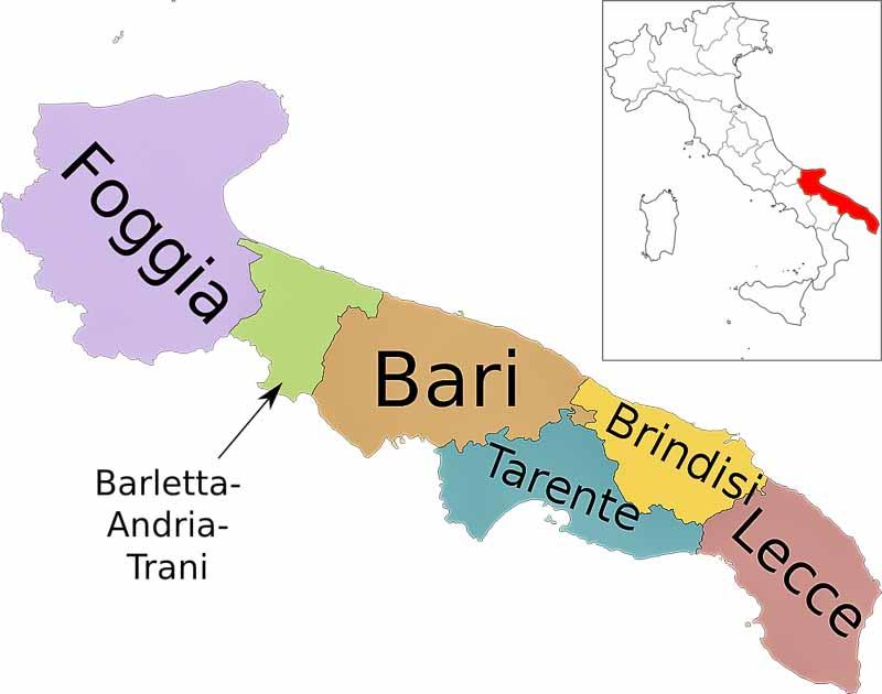 Апулия на карте