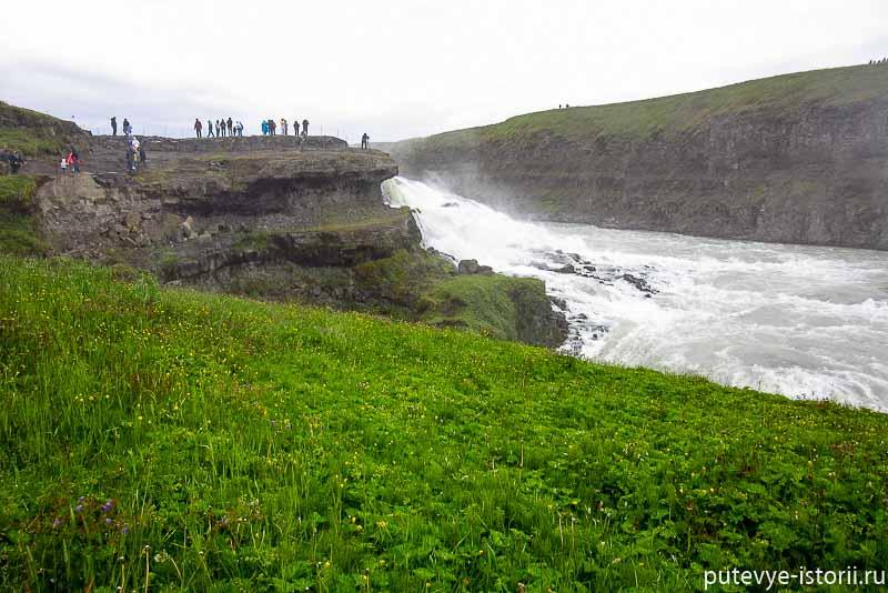 исландия золотое кольцо водопад Гудльфосс