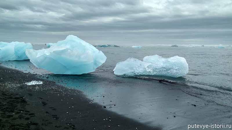 Часть льдин после прохождения через протоку течением прибивает к берегу, и лежат на черном вулканическом песке глыбы льда самых причудливых форм.