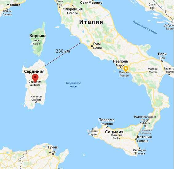 сардиния на карте