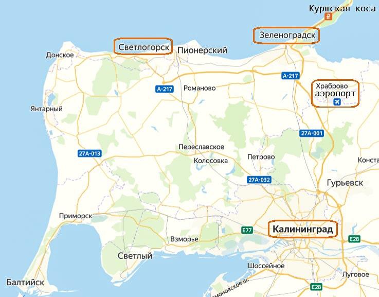зеленоградск на карте