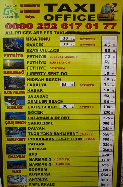 олюдениз такси цены