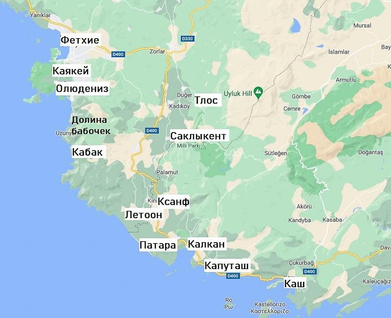 олюдениз достопримечательности на карте