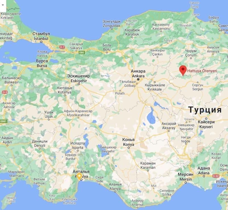 хаттуса на карте турции