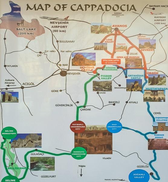 достопримечательности каппадокии на карте