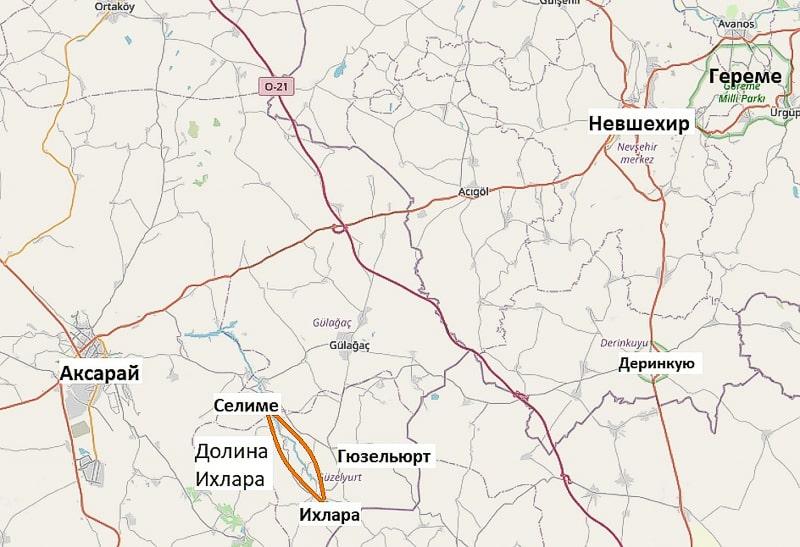 долина ихлара на карте