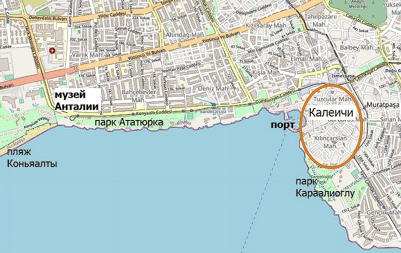 достопримечательности анталии на карте