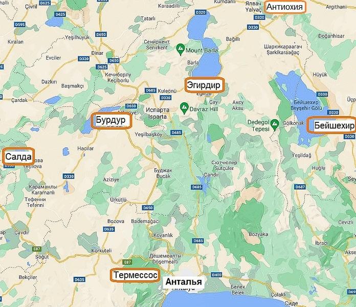 достопримечательности в окрестностях анталии на карте