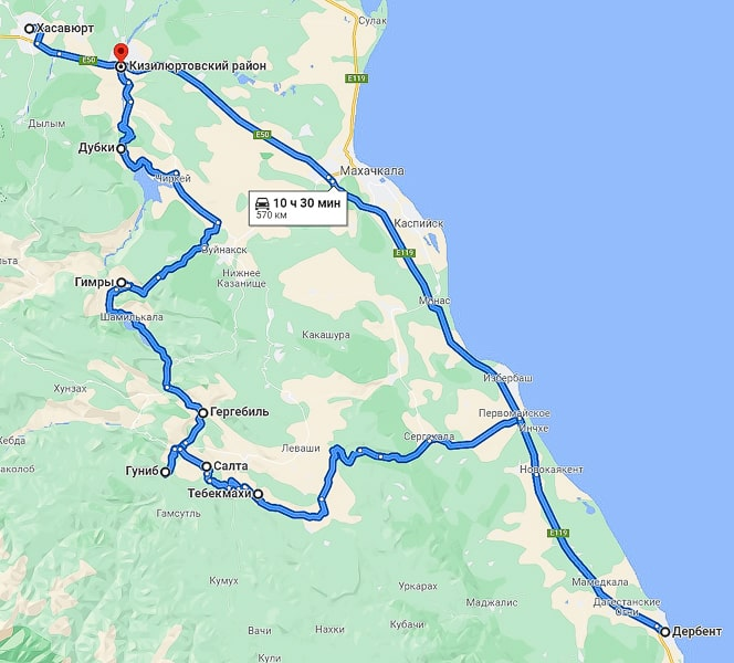 маршрут по дагестану